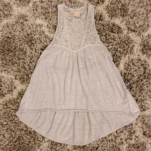 Hollister Gray Lace Tank Top Size Large